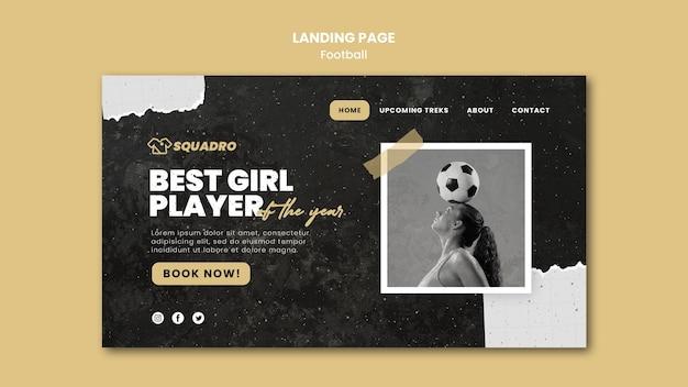 Página de destino para jogador de futebol feminino