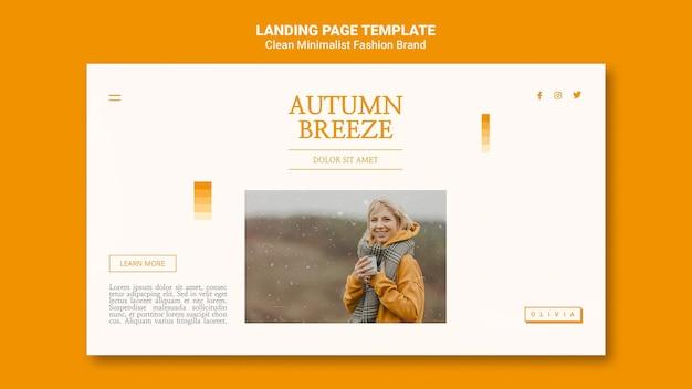 Página de destino para marca de moda de outono minimalista