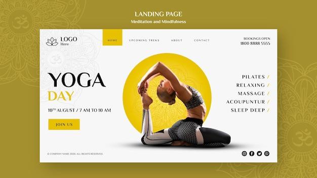 Página de destino para meditação e atenção plena