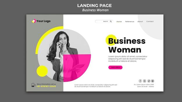Página de destino para mulher de negócios