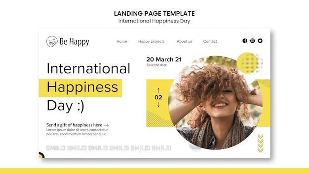 Página de destino para o dia internacional da felicidade