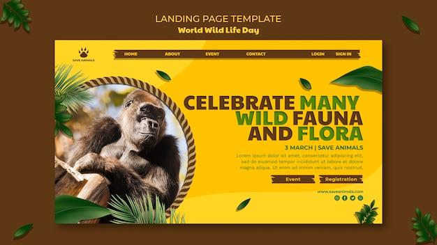 Página de destino para o dia mundial da vida selvagem com animais
