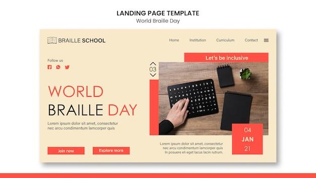 Página de destino para o dia mundial do braille