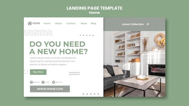 Página de destino para o novo design de interiores de casas