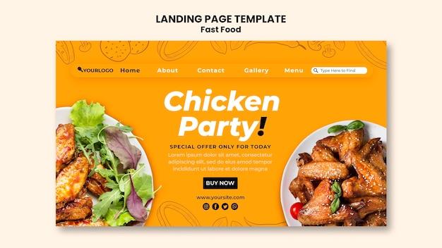 Página de destino para prato de frango frito