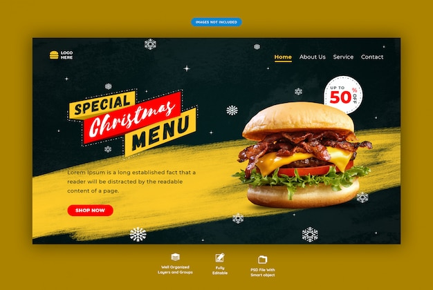 Página de destino para restaurante com menu de comida especial de natal
