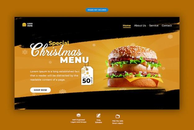 Página de destino para restaurante com menu de fast-food de natal