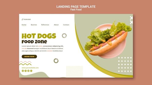 Página de destino para restaurante de cachorro-quente
