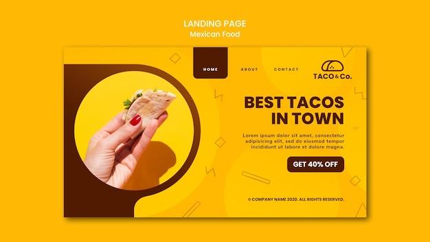 Página de destino para restaurante de comida mexicana