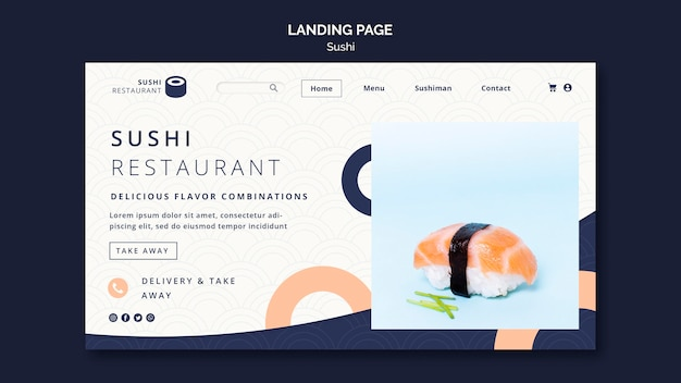 Página de destino para restaurante de sushi
