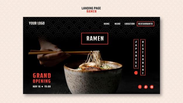 Página de destino para restaurante ramen japonês