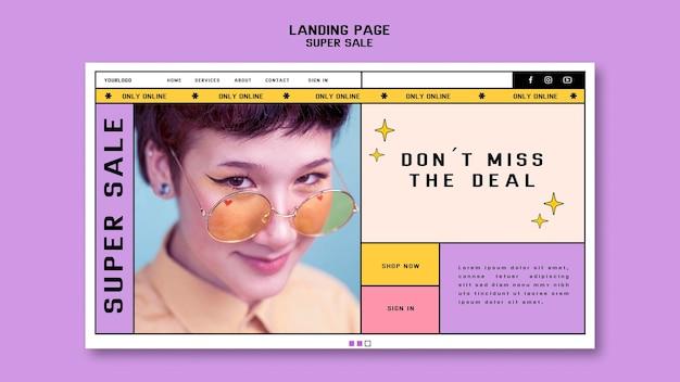 Página de destino para super promoção de óculos de sol
