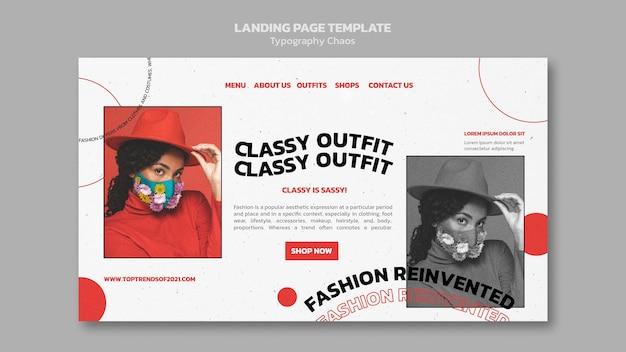 Página de destino para tendências da moda com mulher usando máscara facial