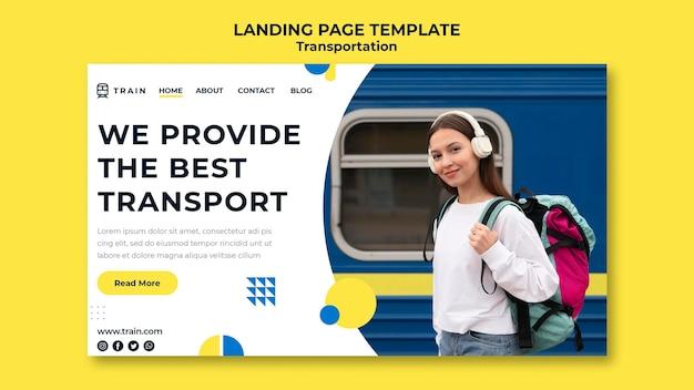 Página de destino para transporte público de trem com mulher