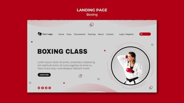 Página de destino para treinamento de boxe