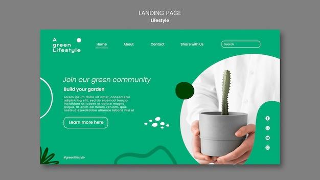 Página de destino para um estilo de vida ecológico com plantas