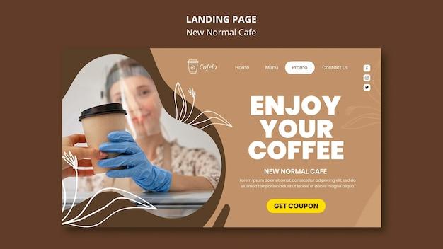 Página de destino para um novo café normal
