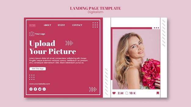 Página de destino para upload de fotos nas redes sociais