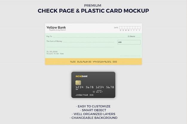 Página de livro de cheques e maquete de cartão de crédito