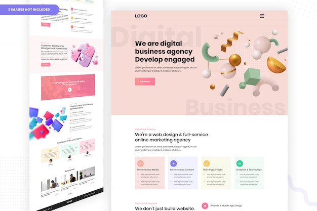 Página do site da agência de negócios digitais