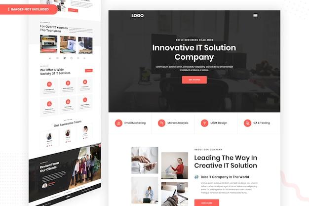 Página do site da empresa com soluções inovadoras de ti