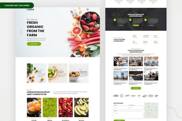 Página do site de legumes frescos