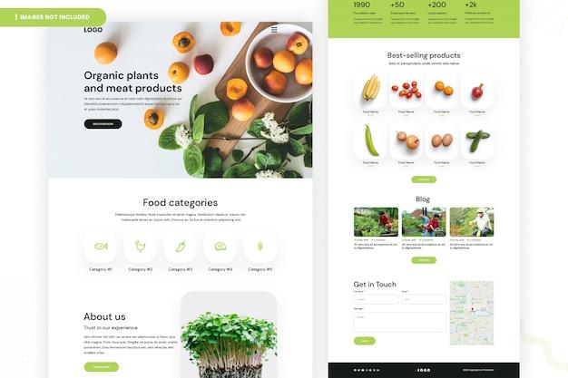 Página do site de produtos orgânicos