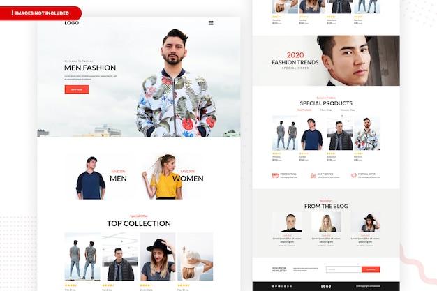 Página do site de venda de moda on-line