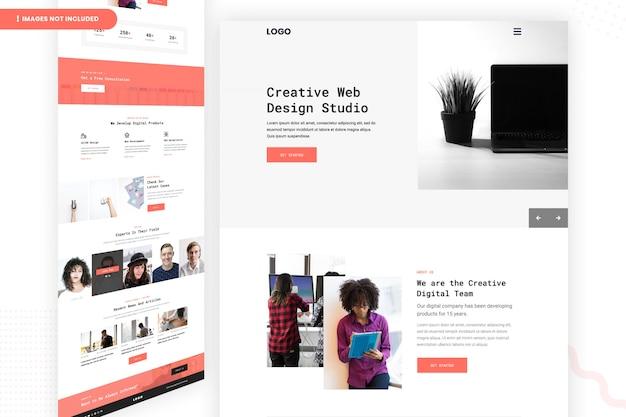 Página do site do creative web design studio