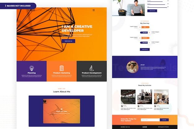 Página do site do desenvolvedor criativo