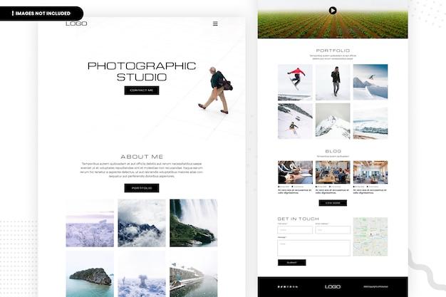 Página do site do estúdio fotográfico