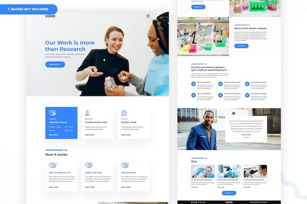 Página do site do laboratório de medicina e saúde