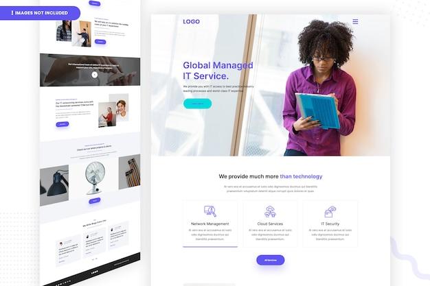 Página do site do serviço de ti gerenciado global