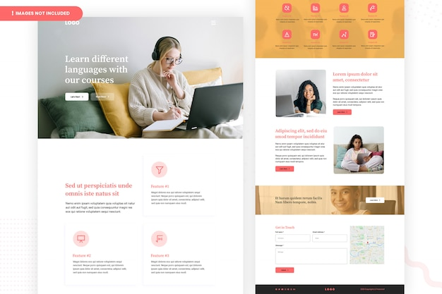 Página do site dos cursos de idiomas on-line