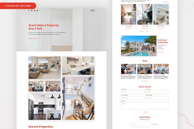 Página do site imobiliário e propriedade