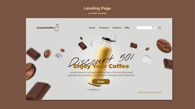 Página inicial de chocolate e café gelado