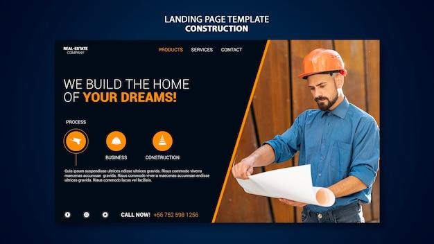 Página inicial de construção Psd Premium