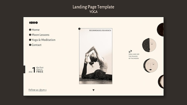 Página inicial de design de ioga incolor