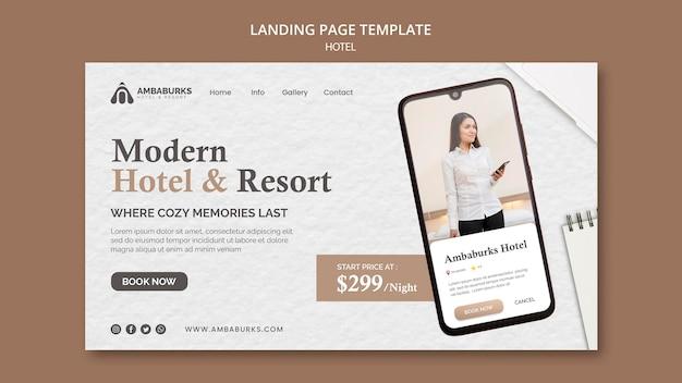 Página inicial de design de modelo de hotel