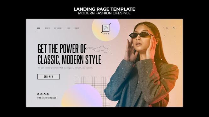 Página inicial de estilo de vida de moda moderna