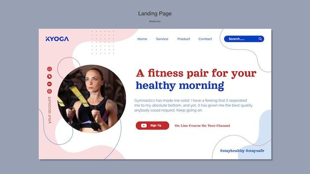 Página inicial de fitness e bem-estar