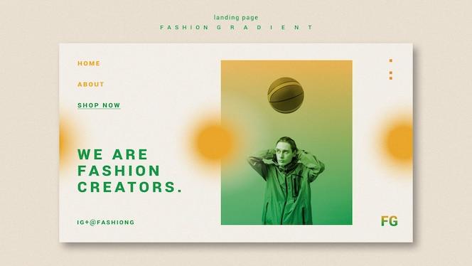 Página inicial de gradiente de moda