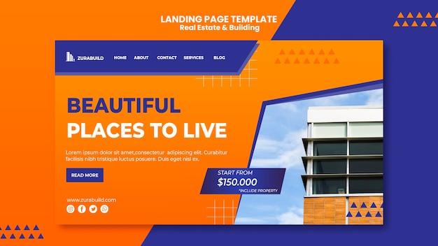 Página inicial de imóveis e construção