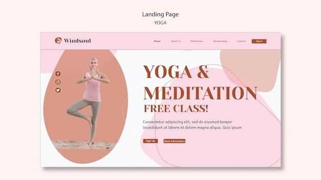 Página inicial de ioga e meditação Psd Premium