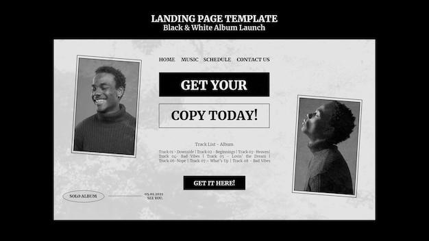Página inicial de lançamento de álbum em preto e branco