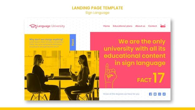 Página inicial de linguagem de sinais
