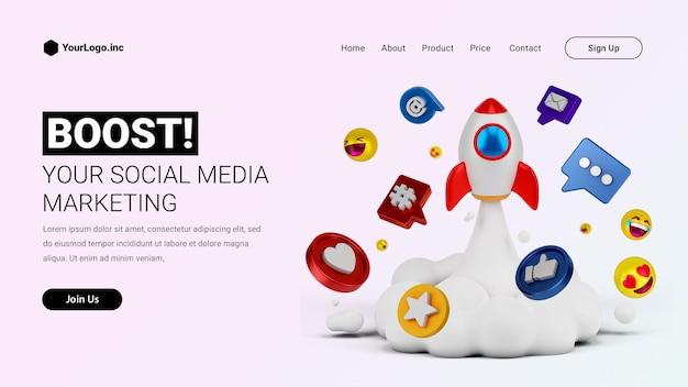 Página inicial de marketing de mídia social com foguete de ilustração de desenho animado 3d