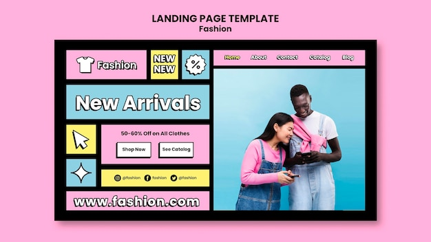 Página inicial de promoções de moda