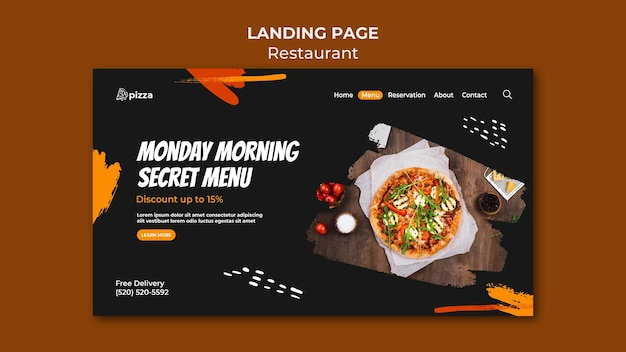 Página inicial de restaurante de comida italiana