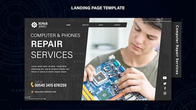 Página inicial de serviços de conserto de computadores e telefones